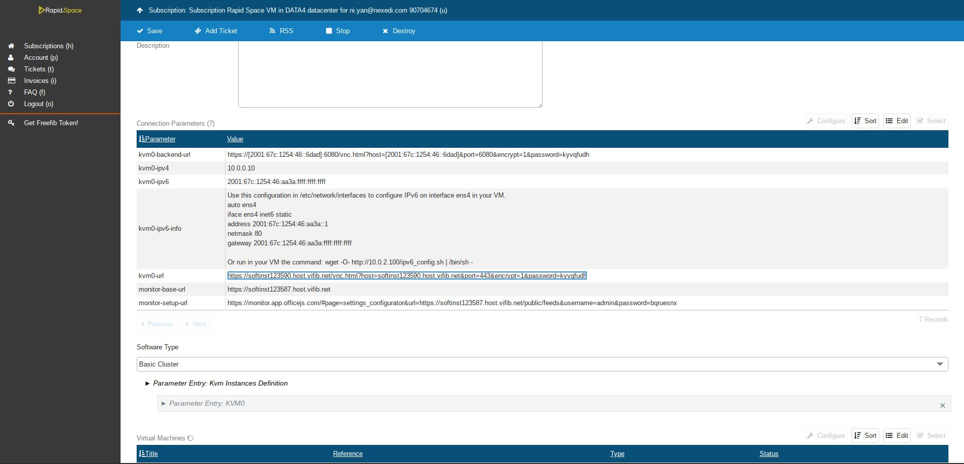 Rapid Space Console_kvm-url Screenshot