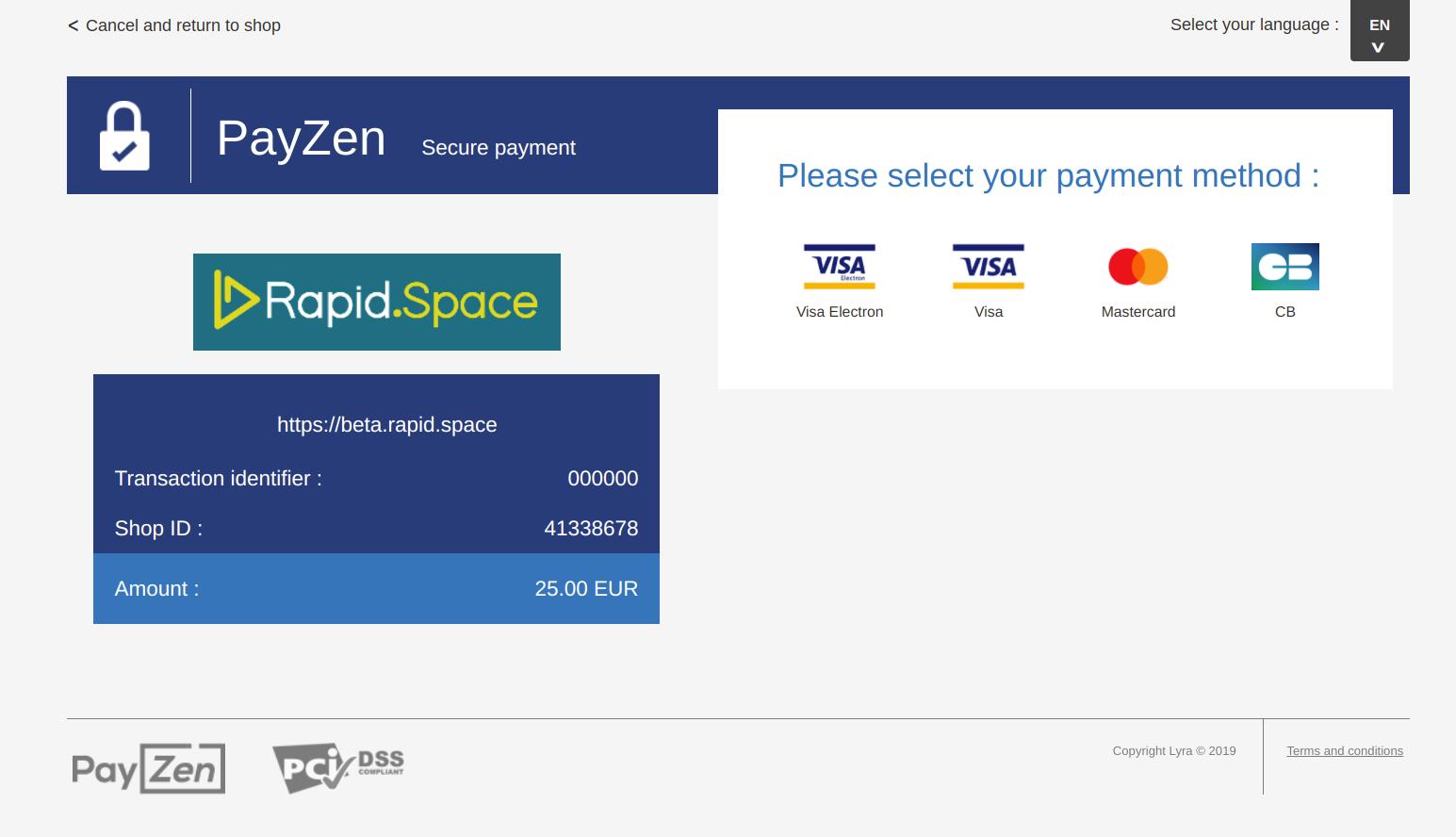 Rapid Space PayZen Payment